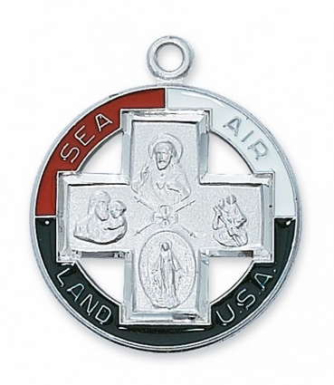Air-Land-Sea Four-Way Sterling Silver Service Medal