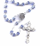 Blue Glass Bead Rosary