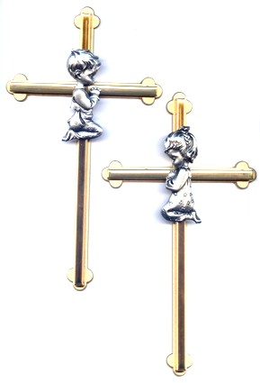 Boy's or Girl's Pewter on Bronze Wall Crosses