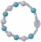 Children's Blue Flower Rosary Bracelet with 8mm Acrylic Beads, RCB22