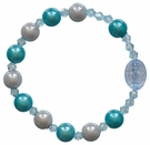 Children's Blue Rainbow Rosary Bracelet with 8mm Acrylic Beads, RCB12