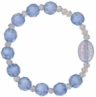 Children's Blue Rosary Bracelet with 8mm Crystal-Cut Acrylic Beads, RCB32