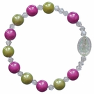 Children's Green and Pink Rainbow Rosary Bracelet with 8mm Acrylic Beads, RCB14