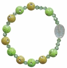 Children's Green Flower Rosary Bracelet with 8mm Acrylic Beads, RCB24