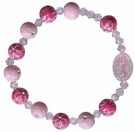 Children's Pink Flower Rosary Bracelet with 8mm Acrylic Beads, RCB21
