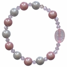 Children's Pink Rainbow and Blue Rosary Bracelet with 8mm Acrylic Beads, RCB13