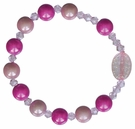 Children's Pink Rainbow Rosary Bracelet with 8mm Acrylic Beads, RCB11