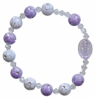 Children's Purple Flower Rosary Bracelet with 8mm Acrylic Beads, RCB23