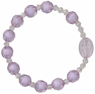 Children's Purple Rosary Bracelet with 8mm Crystal-Cut Acrylic Beads, RCB33