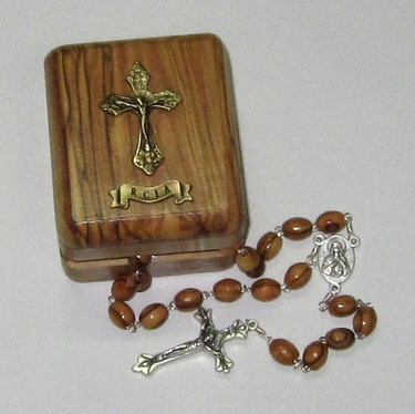 Confirmation or RCIA Olive Wood Boxed Rosary
