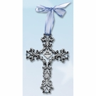 Filigree Wall Cross, Bless This Child, Blue Ribbon
