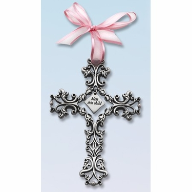 Filigree Wall Cross, Bless This Child, Pink Ribbon