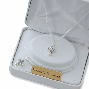 First Communion White Pearl Rhinestone Cross Necklace and Bracelet Set