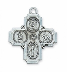 Four-way Catholic Saint Medal - Sterling Silver