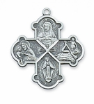Four-Way Sterling Silver Catholic Saint Medal