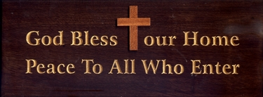 Mahogany Wood God Bless Our Home Peace To All Who Enter Wall Plaque
