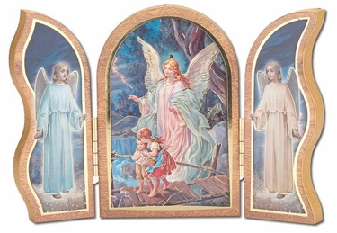 Gold Embossed Guardian Angel Communion Triptych 1205.350