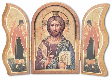 Gold Embossed Wood Christ All Knowing Triptych 1205.141