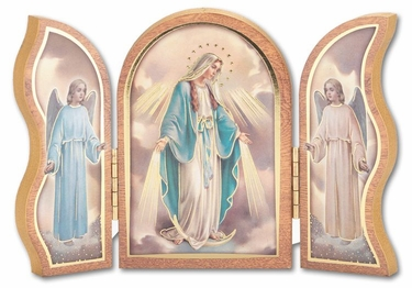Gold Embossed Wood Our Lady of Grace Triptych 1205.200