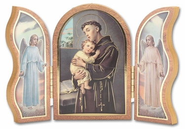 Gold Embossed Wood Saint Anthony Triptych 1205.300