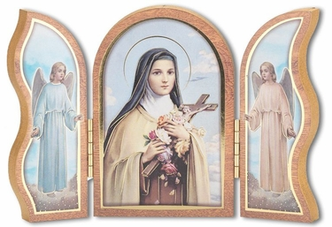 Gold Embossed Wood Saint Therese Triptych 1205.340