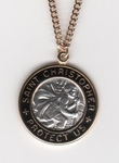 Gold Enamel St Christopher Medal SM9504