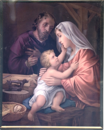 Holy Family in the Wood Shop Wall Plaque