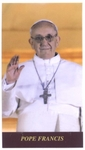 Laminated Plastic Holy Card of Pope Francis