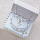 Miraculous Medal First Communion White Pearl Pendant and Bracelet Set