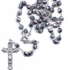 Painted Flower Glass Bead Rosary