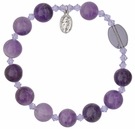 Rosary Bracelet with 10mm Amethyst Beads, RBS14