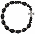 Rosary Bracelet with 10mm Black Crystal Beads, RBS29