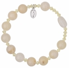 Rosary Bracelet with 10mm Gold Jade Beads, RBS6