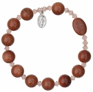 Rosary Bracelet with 10mm Gold Stone Beads, RBS13