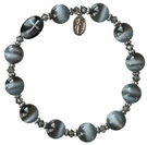 Rosary Bracelet with 10mm Gray Cats Eye Beads, RBS24