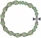Rosary Bracelet with 10mm Green Crystal Beads, RBS32