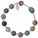 Rosary Bracelet with 10mm Multicolor Onyx Beads, RBS8