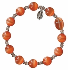 Rosary Bracelet with 10mm Orange Cats Eye Beads, RBS23