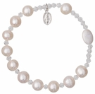 Rosary Bracelet with 10mm Pearl Beads, RBS15