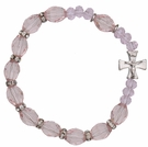 Rosary Bracelet with 10mm Pink Crystal Beads, RBS28