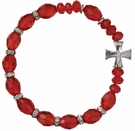Rosary Bracelet with 10mm Red Crystal Beads, RBS26