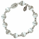 Rosary Bracelet with 10mm White Cats Eye Beads, RBS20