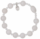 Rosary Bracelet with 10mm White Jade Beads, RBS4