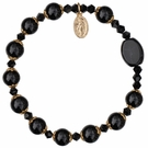 Rosary Bracelet with 8mm Black Onyx Beads and Gold Capping - Petite Wrist Size, RBS59