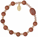Rosary Bracelet with 8mm Gold Stone Beads and Gold Capping - Petite Wrist Size, RBS63