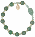 Rosary Bracelet with 8mm Green Jade Beads and Gold Capping - Petite Wrist Size, RBS52