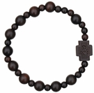 Rosary Bracelet with 8mm Striped Cut Jujube Wood Beads - For Petite Wrists , RBS2D