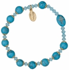 Rosary Bracelet with 8mm Turquoise Beads and Gold Capping - Petite Wrist Size, RBS66