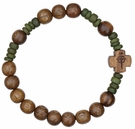 Rosary Bracelet with 8mm Wood Beads, RBS2B