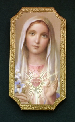Sacred Heart and Immaculate Heart Wall Plaques